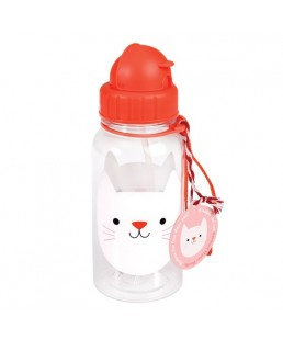 Rex London - Botella de Agua para niños con Pajita Cookie The Cat 500 ml Ref. 27908