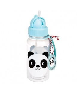 Rex London - Botella de Agua para niños con Pajita Miko The Panda 500 ml Ref. 27909