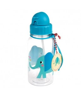 Rex London - Botella de Agua para niños con Pajita Elvis The Elephant 500 ml Ref. 27284