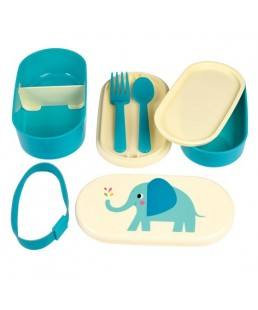 Rex London - Caja de Almuerzo y Merienda con cubiertos (Bento Box) Elvis The Elephant Ref. 27563